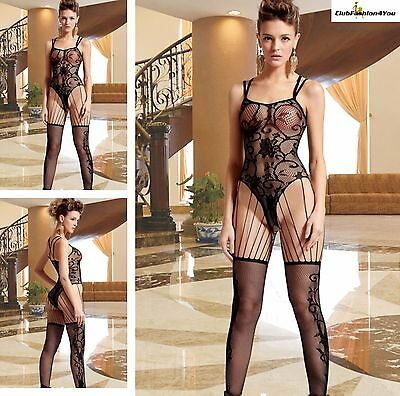 Hot Reizwäsche Fishnet Body Stocking Catsuit Netz Body Unterwäsche |H| 79608