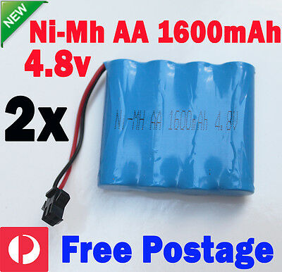 2x 4.8V 1600mAh AA Ni-MH Rechargeable Battery Pack SM Port For RC vehicle Toy
