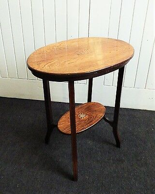 Antique Inlaid rosewood 2 tier side table / occasional table