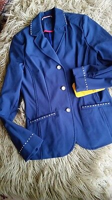 New! Hkm Girl's Navy Softshell Competition Jacket With Crystal Buttons