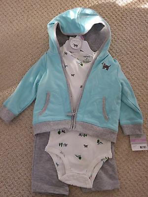 Carters Baby Boy Hooded Cardigan Pants Set/Outfit Blue/grey 9 Mths