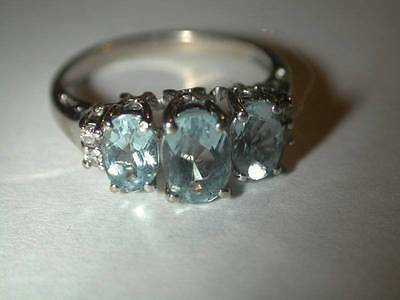 Vintage Estate 14k White Gold 3 Stone Aquamarine Diamond Ring Sz 5.5