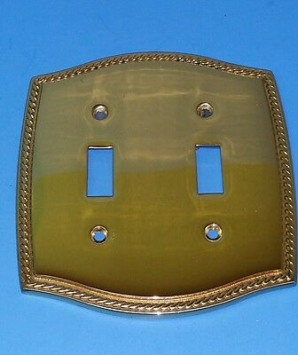 Broadway Supply Heavy Solid Brass Switch Plate Covers 2 Gang Traditional Rope..e