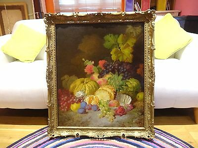 Fine Large 19th Century English Exotic Fruit Still Life Antique Oil Painting