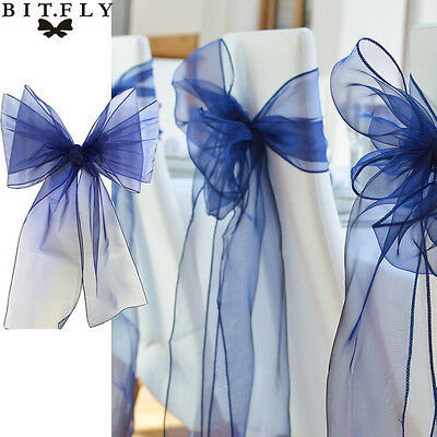 25Pcs  Organza Sashes Chair Cover Bow Sash Wedding Anniversary Party Decoration