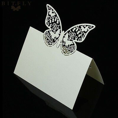 50x Banquet Name place cards Restaurant Table number cards Butterfly shape