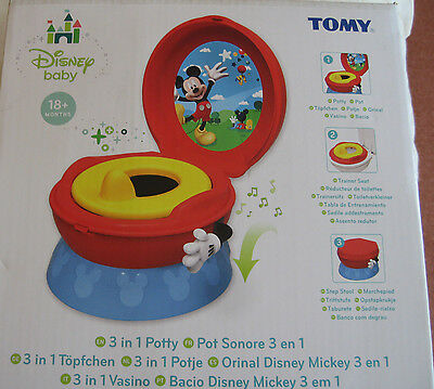 TOMY Disney Mickey Mouse 3-in-1 Red Blue Boys Potty Chair Training Seat