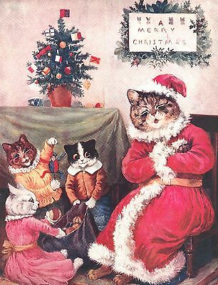 LOUIS WAIN Cat 1909 w Kittens Christmas! RARE - 8 LARGE New Blank Note Cards