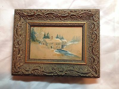 Beautiful Folk Art Painting Artist S.D. Corning Watercolor Framed Gorgeous River
