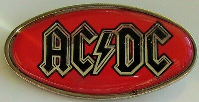 AC/DC RED LOGO VINTAGE METAL PIN BADGE FROM THE 1980's ANGUS YOUNG OLD RETRO
