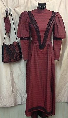 Victorian/Edwardian Burgundy Dress, Theatrical Costume, Size (Small) Petite