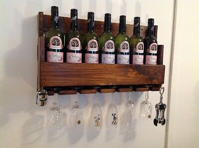 Hand made wooden rustic 7 bottle wine rack home club bar restaurant