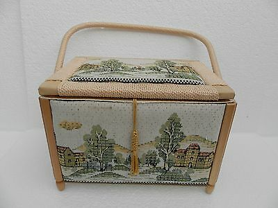 Sewing Basket with 4 Wooden Feet ~ Tapestry Effect Country Scenes