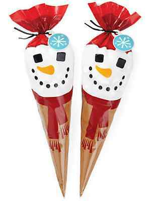 Wilton Snowman Cocoa Cone Kit Treat Bag Qty 10 Hot Chocolate Christmas Gift 9489