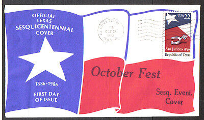 Us Fdc 1986 Texas Sesquicentennial October Fest First Day Of Issue Event Cover