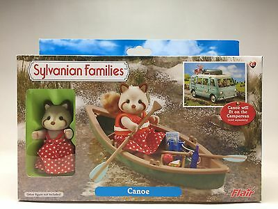 Sylvanian Families Calico Critters CANOE BOAT WITH RACOON Flair