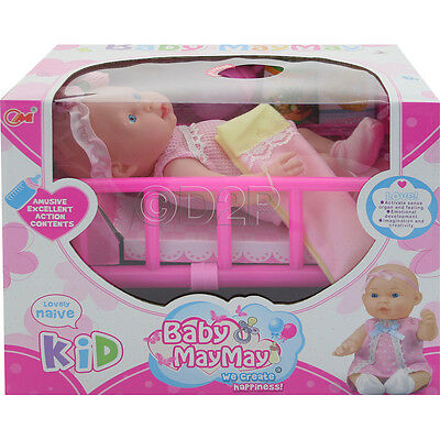 26Cm Real Life Baby Doll + 6 Sounds Kids Girls Toy Cot Accessories Xmas Gift New