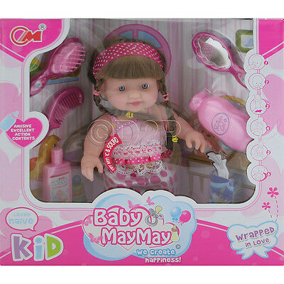 24Cm Real Life Baby Doll + 6 Sounds Hair Brush Accessories Girls Toy Play Gift