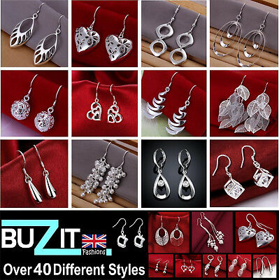 Drop Hoop Earrings Sterling Silver Plated Ladies Large Small Dangle Hoops - UK