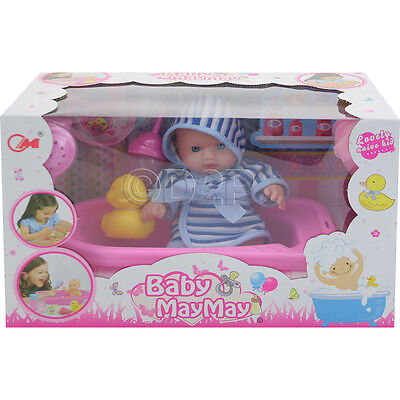 20Cm Real Life Doll Baby Bath Time Set Accessories Girls Toy Gift Play Fun New