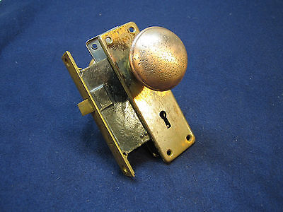 Antique Victorian Mortise Door Lock Set Gothic Brass Knobs Art Deco Nouveau