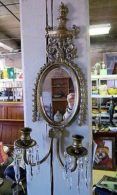 Victorian Brass Oval Beveled Mirror Candle Wall Sconce With Prisms