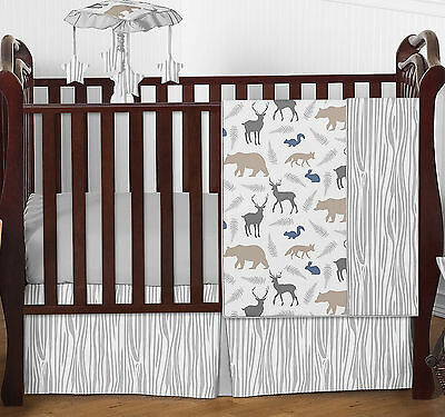 Gray White Forest Animal Deer Fox Bear Bumperless Baby Boy Bedding 4 Pc Crib Set