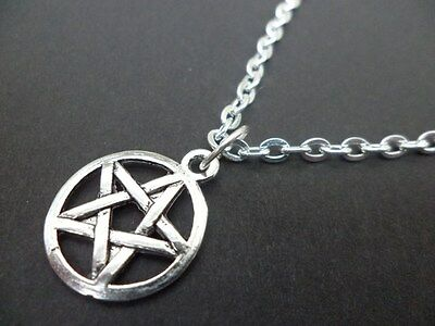 "Pentacle Necklace 18"" silver plated chain pendant pentagram wicca pagan gift"