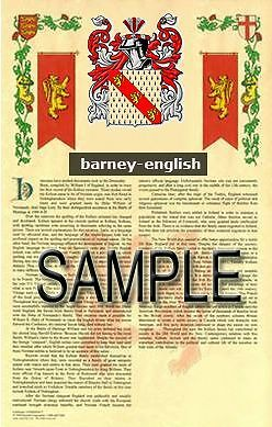 BARNEY Armorial Name History - Coat of Arms - Family Crest GIFT! 11x17