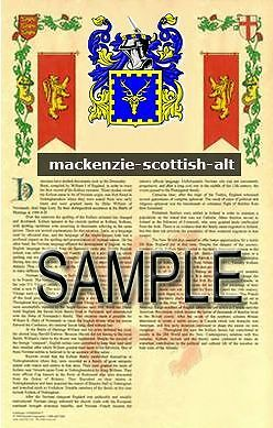 MACKENZIE Armorial Name History - Coat of Arms - Family Crest GIFT! 11x17