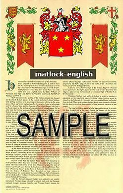 MATLOCK Armorial Name History - Coat of Arms - Family Crest GIFT! 11x17