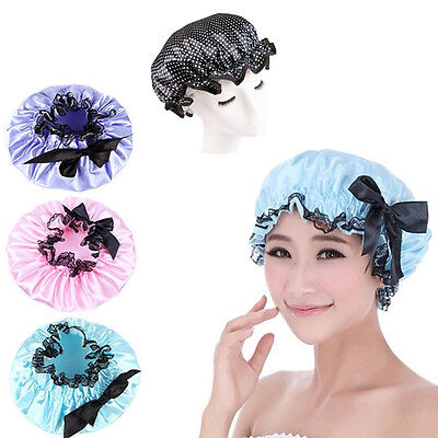 Women Lady Waterproof Elastic Satin  Bowknot Shower Bathing Salon Hair Caps Hat