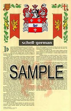 SCHELL Armorial Name History - Coat of Arms - Family Crest GIFT! 11x17