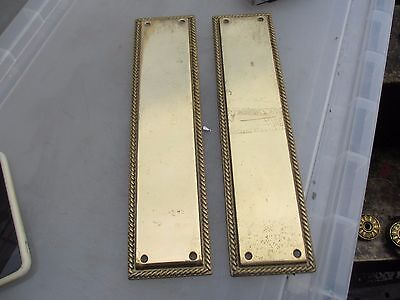 Old Solid Brass Finger Plates Push Door Handles Antique Geotgian Style Rope Edge