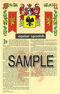 AGUIAR Armorial Name History - Coat of Arms - Family Crest GIFT! 11x17