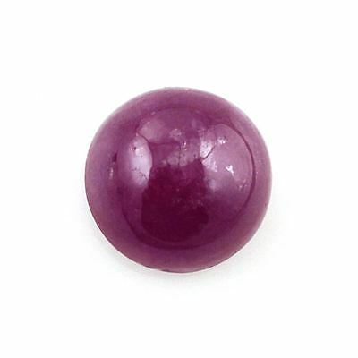 RARE 5mm ROUND CABOCHON-CUT RED/PURPLE NATURAL INDIAN RUBY GEMSTONE