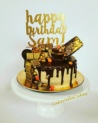 Personalised 'happy birthday' cake topper with name - Laser Cut Perspex Acrylic