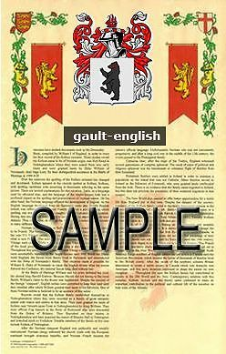 GAULT Armorial Name History - Coat of Arms - Family Crest GIFT! 11x17