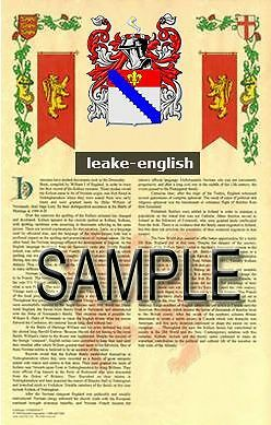 LEAKE Armorial Name History - Coat of Arms - Family Crest GIFT! 11x17