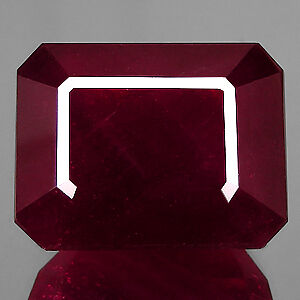 RARE 8x6mm OCTAGON-FACET DEEP RED/PURPLE NATURAL INDIAN RUBY GEMSTONE (APP £404)