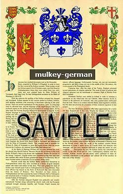 MULKEY Armorial Name History - Coat of Arms - Family Crest GIFT! 11x17