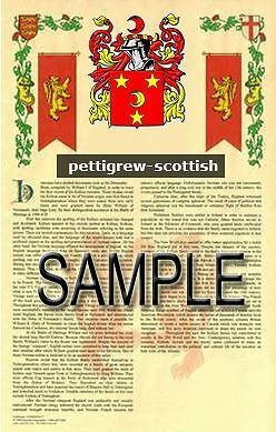 PETTIGREW Armorial Name History - Coat of Arms - Family Crest GIFT! 11x17
