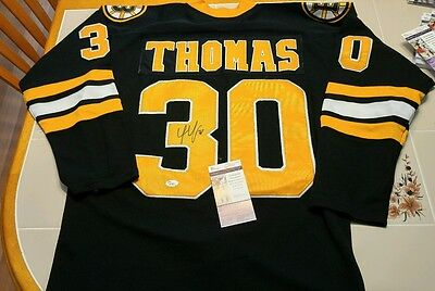 TIM THOMAS signed custom BRUINS jersey JSA COA SIZE L