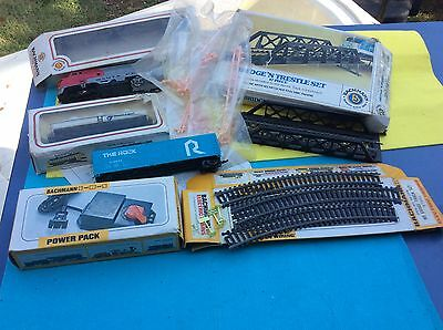 Vintage Bachman Train Cars For Parts & Track Plus #44207 Power Pack