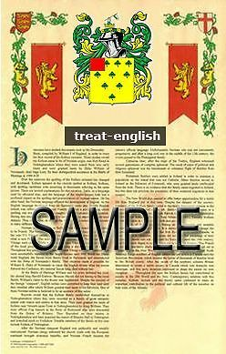 TREAT Armorial Name History - Coat of Arms - Family Crest GIFT! 11x17
