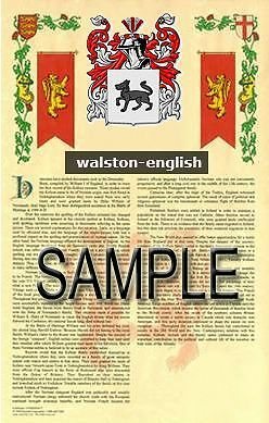 WALSTON Armorial Name History - Coat of Arms - Family Crest GIFT! 11x17