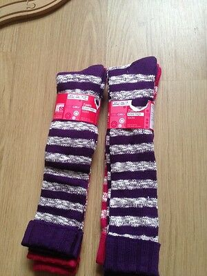 New M&S 4 Pairs Girls Knee High Socks Size 4-7