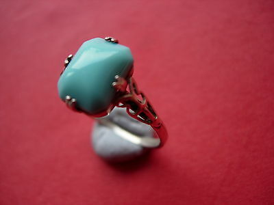 Vintage Decorative Silver And Oblong Stone Turquoise Ring - 8Q