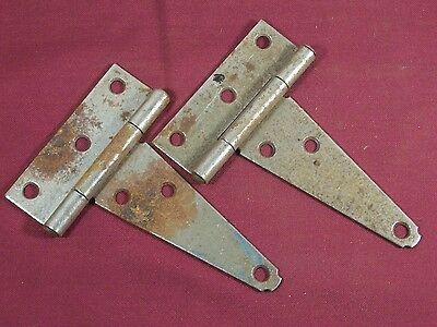 2 Vintage Hinge Barn Door Shed Gate Rustic Primitive T-Strap Hinges Old
