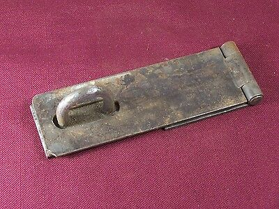 Vintage Antique Hinged Steel Hasp Latch Lock Keeper Shed Chest Door Padlock